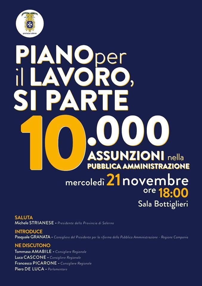 Assunzione di 10 mila persone nella Pubblica Amministrazione della Regione Campania
