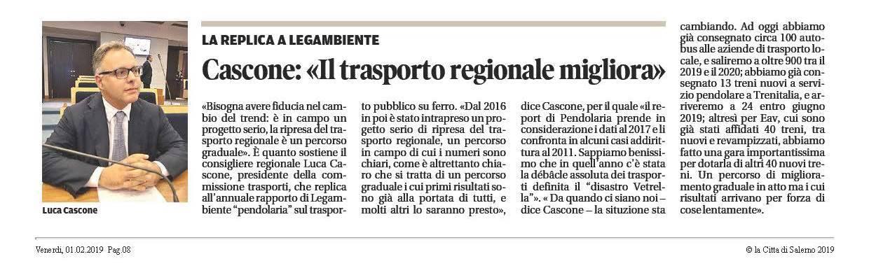 """Cascone: """"il trasporto regionale migliora"""""""